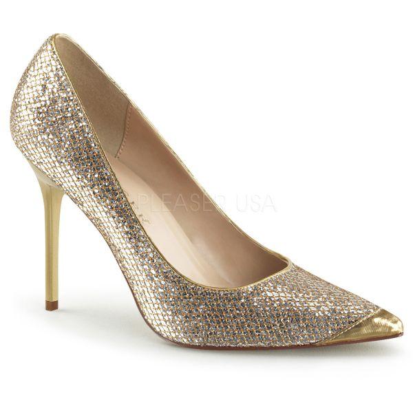CLASSIQUE-20 Klassischer Pumps in gold Glitter mit Stiletto Absatz